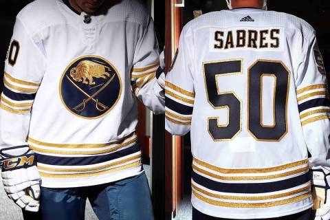 The Buffalo Sabres released photos of the team's new 50th anniversary sweaters for the 2019-20 ...
