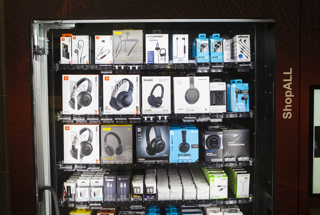 A vending machine, which offers headphones and mobile accessories, in Terminal 3 at McCarran In ...