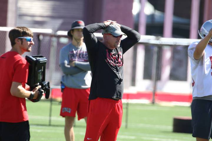 UNLV Rebels head coach Tony Sanchez reacts on a bad play during team practice on Tuesday, Aug. ...