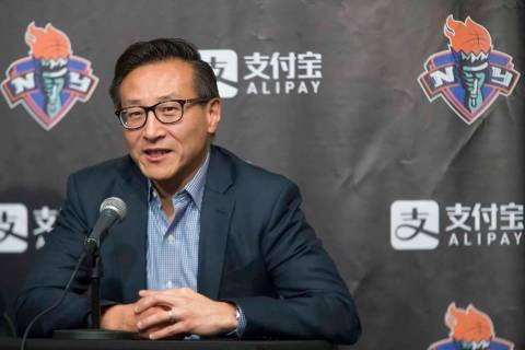In a May 9, 2019, file photo, Joe Tsai speaks to reporters during a news conference before a WN ...