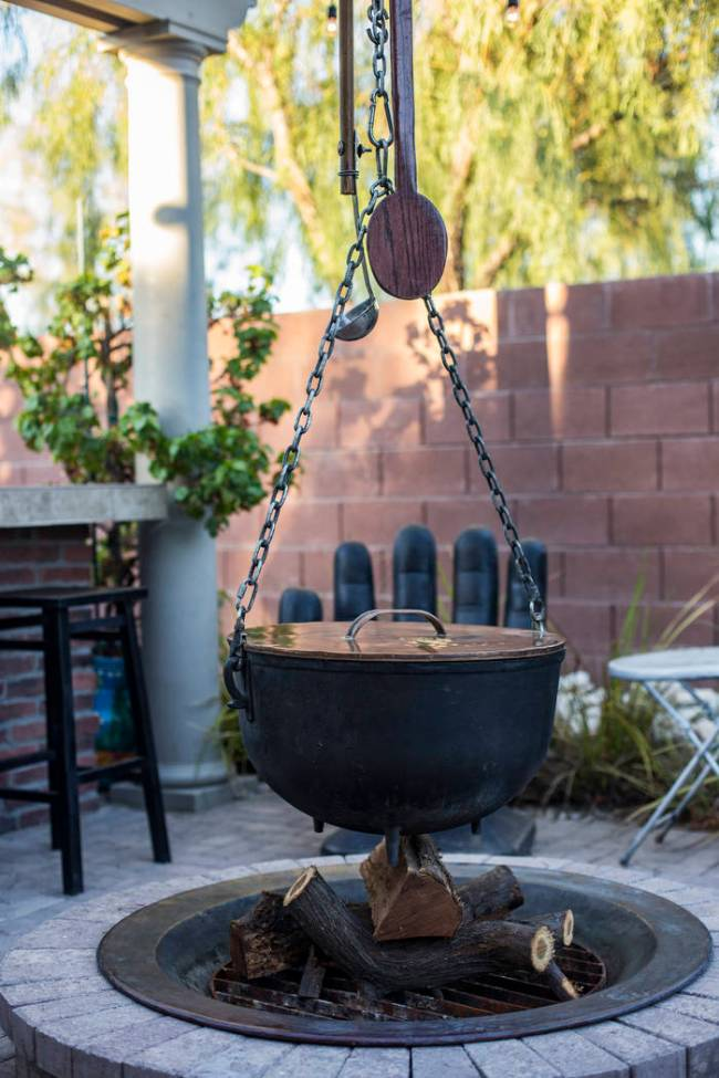 A cauldron in the backyard of Rick Moonen, a celebrity chef known for his expertise in seafood ...