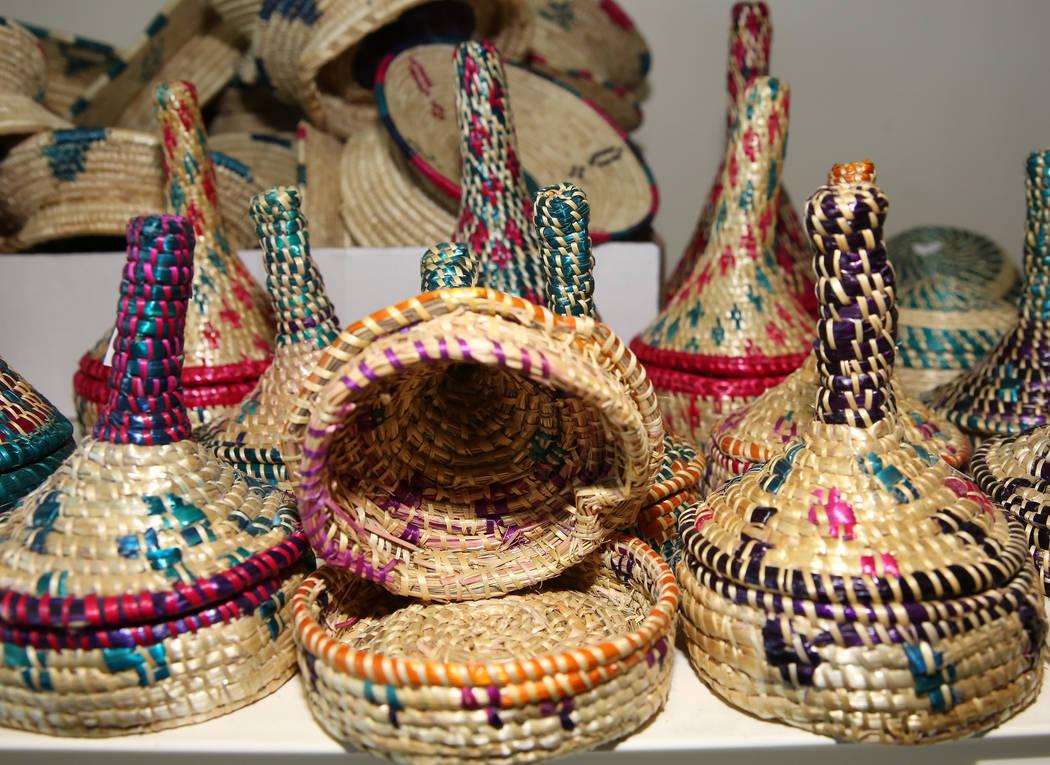 Handmade Ethiopian baskets are displayed at Melkam Market, an Ethiopian store, on Thursday, Aug ...
