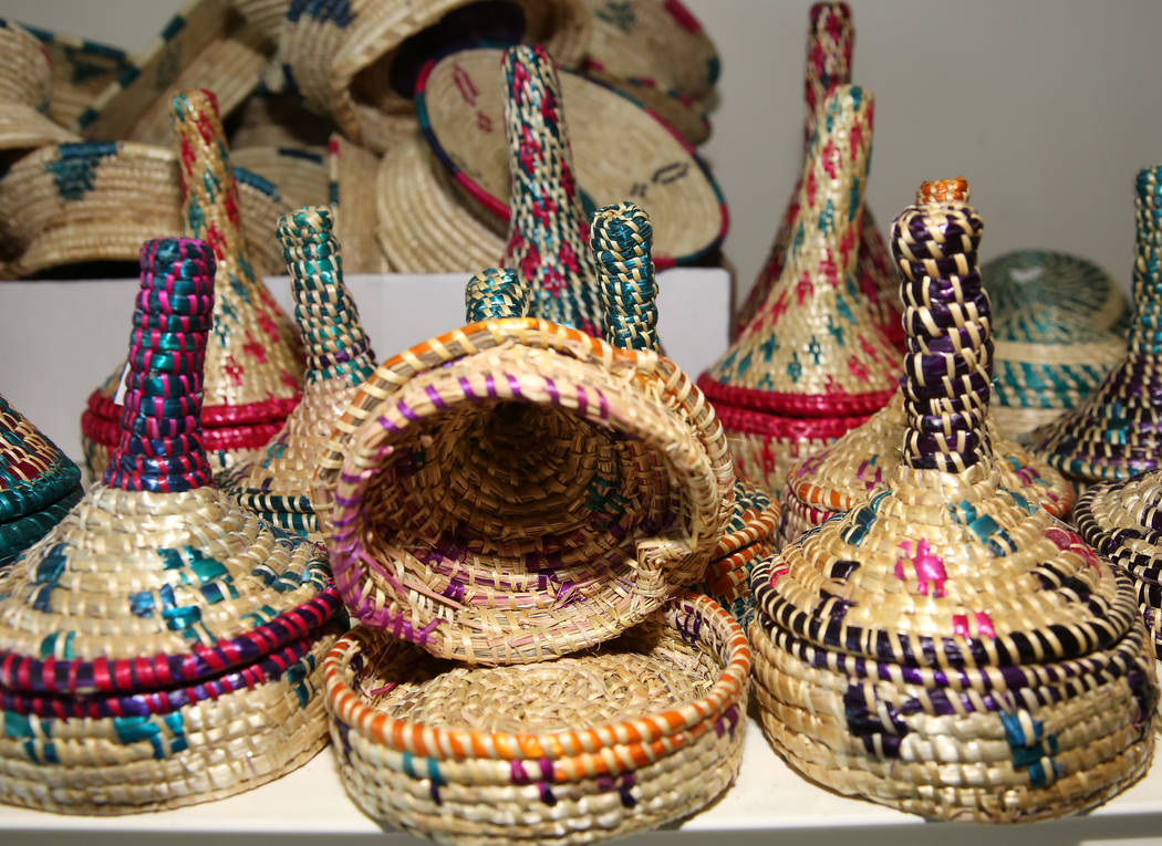 Handmade Ethiopian baskets are displayed at Melkam Market, an Ethiopian store, on Thursday, Aug ...