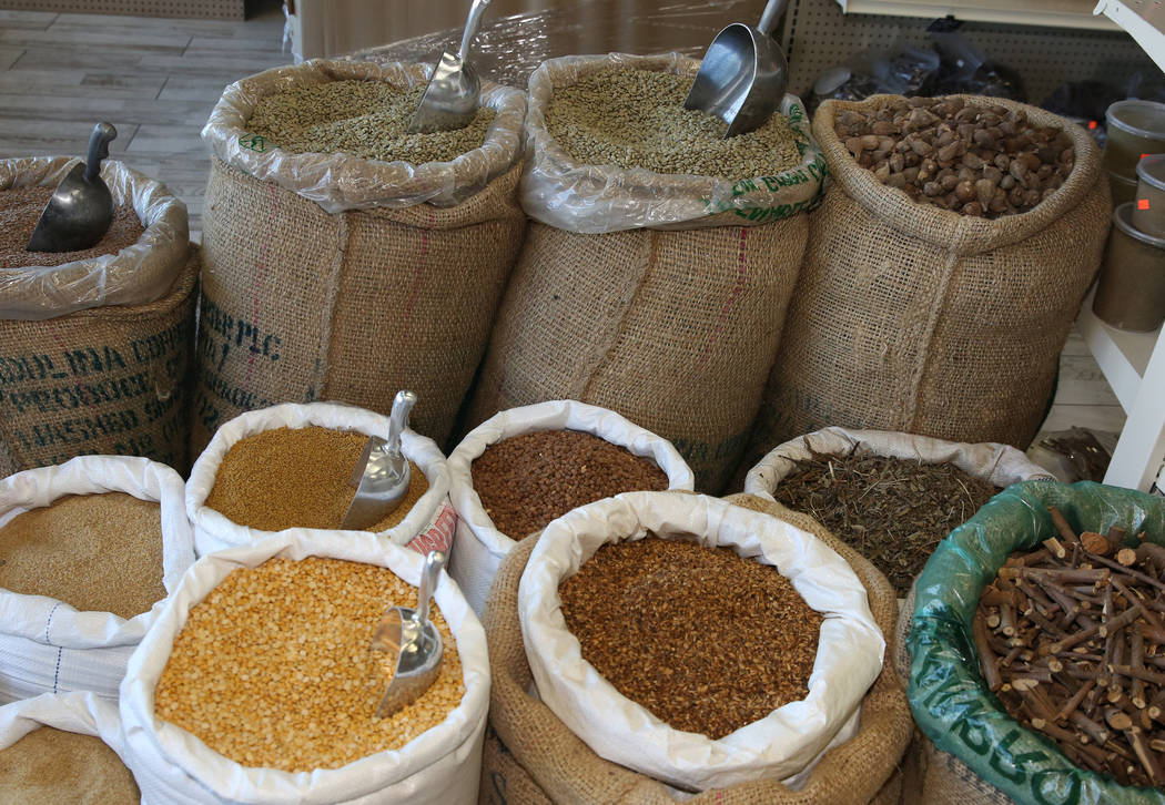 Ethiopian organic spices are displayed at Melkam Market, an Ethiopian store, on Thursday, Aug. ...