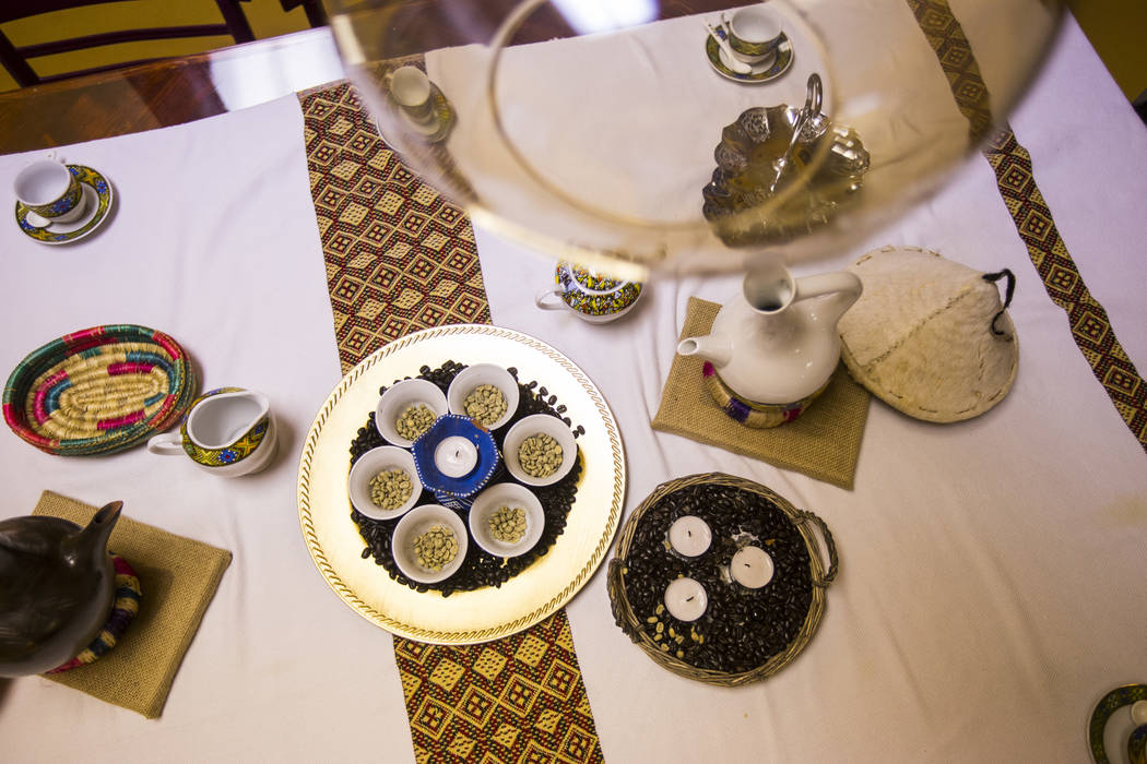 A room set for a traditional Ethiopian coffee ceremony at Java Tree at Flamingo Road and Decatu ...