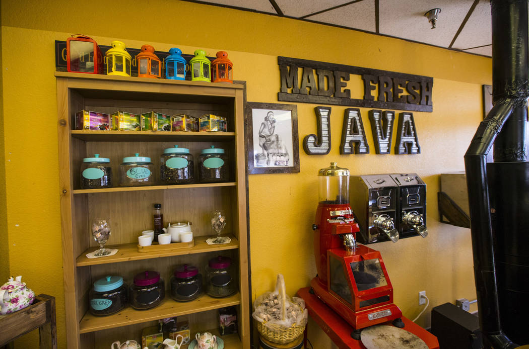 Coffee beans sit on shelves at Java Tree at Flamingo Road and Decatur Boulevard in Las Vegas on ...