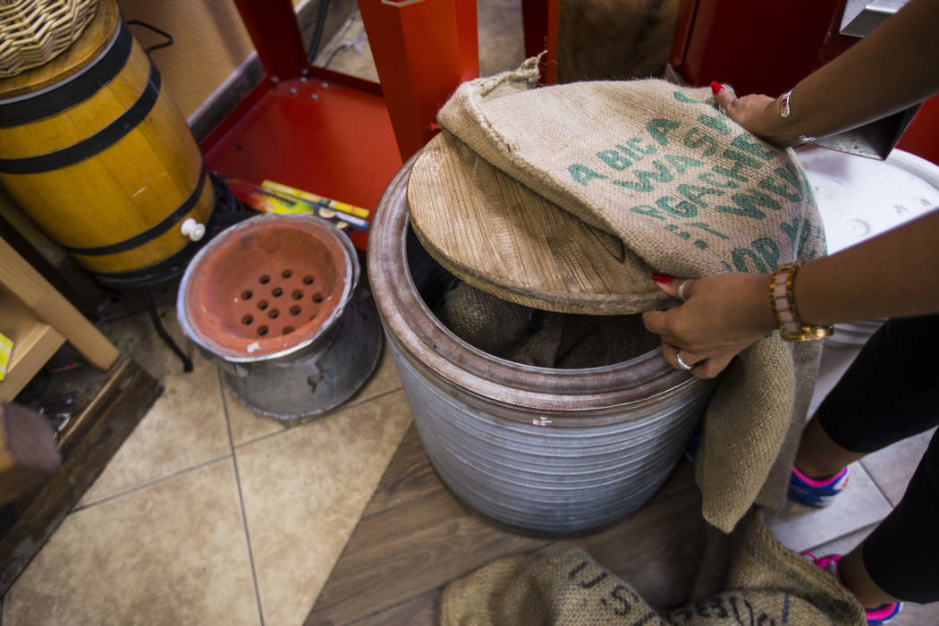 Barrels that hold coffee beans at Java Tree at Flamingo Road and Decatur Boulevard in Las Vegas ...
