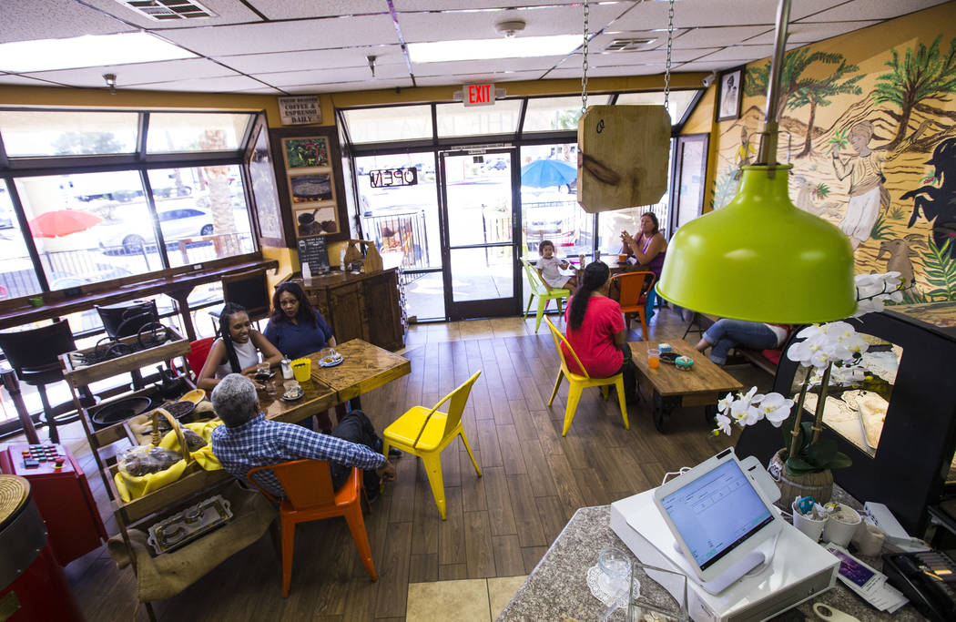 People enjoy coffee and tea at Java Tree at Flamingo Road and Decatur Boulevard in Las Vegas on ...