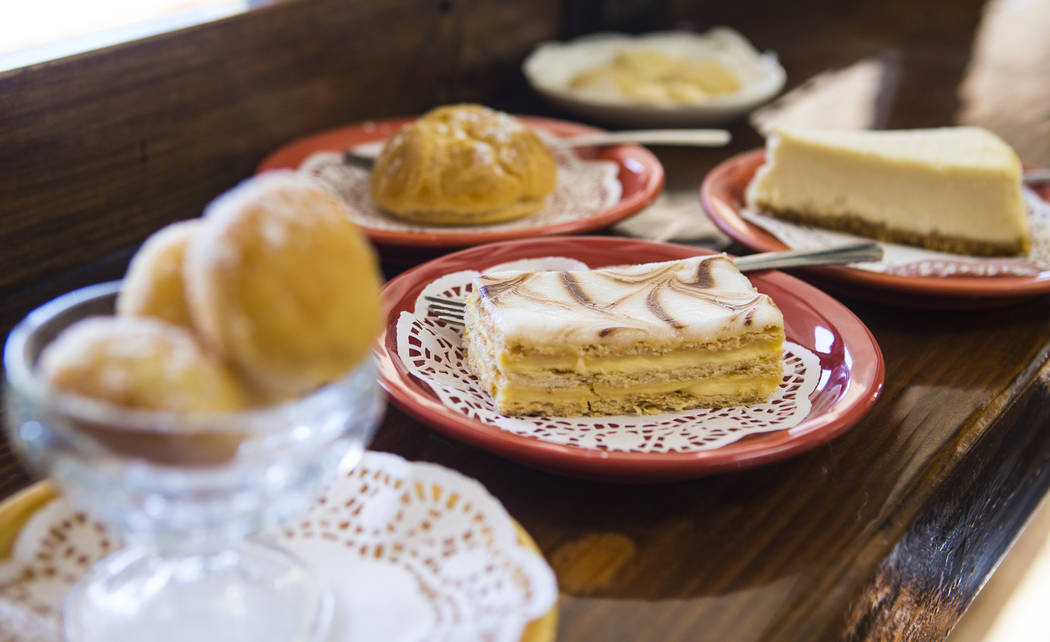 Cakes and pastries at Java Tree at Flamingo Road and Decatur Boulevard in Las Vegas on Thursday ...