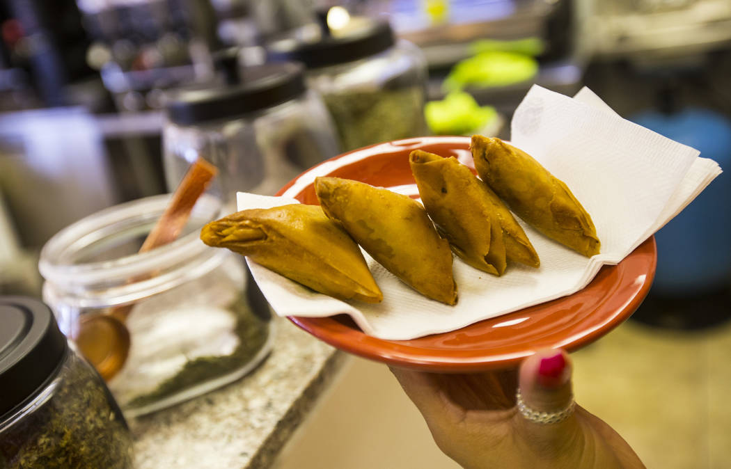 Samosas at Java Tree at Flamingo Road and Decatur Boulevard in Las Vegas on Thursday, Aug. 15, ...