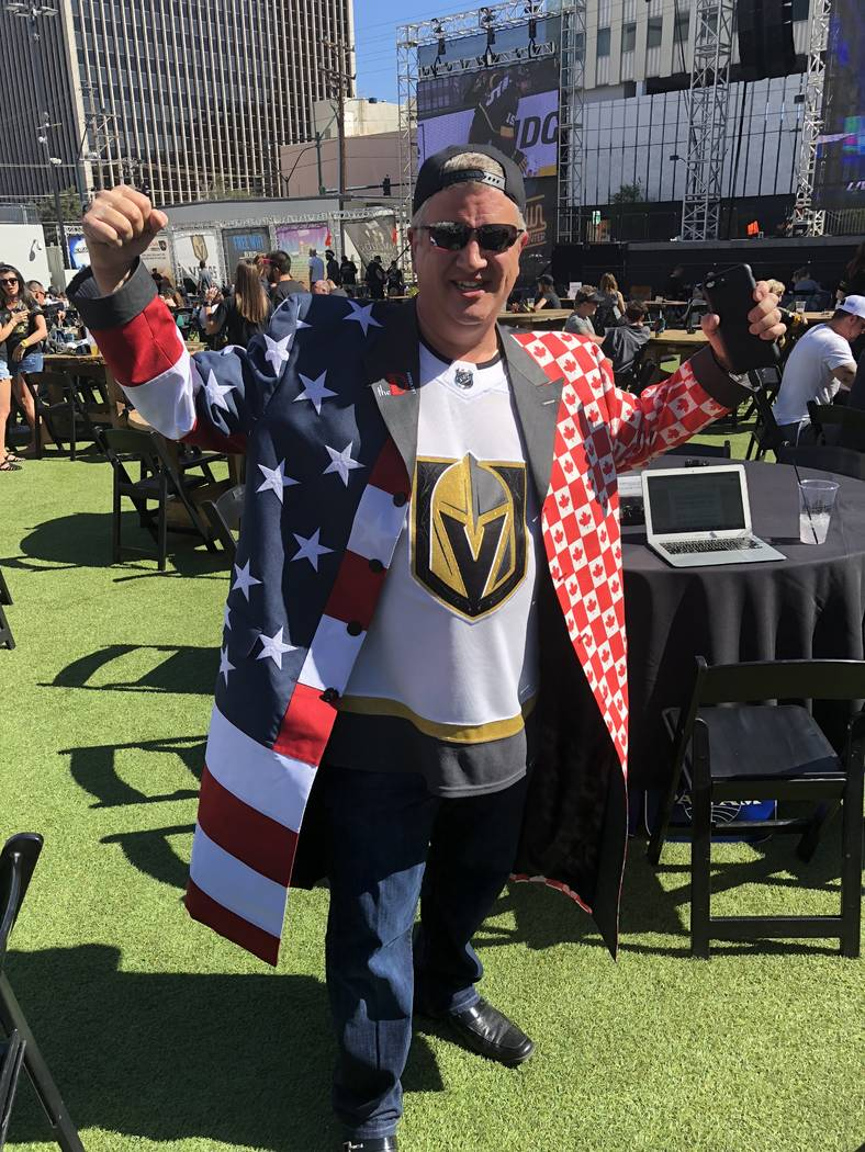 D Las Vegas co-owner Derek Stevens is shown at the official Vegas Golden Knights viewing party ...