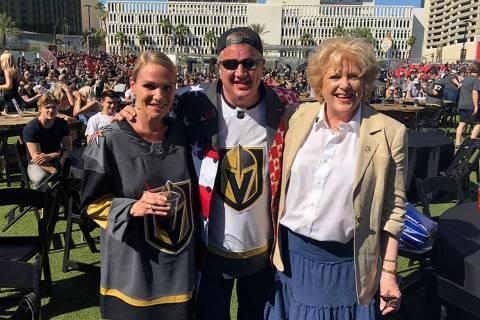 D Las Vegas co-owner Derek Stevens is shown with his wife, Nicole, and Las Vegas Mayor Carolyn ...