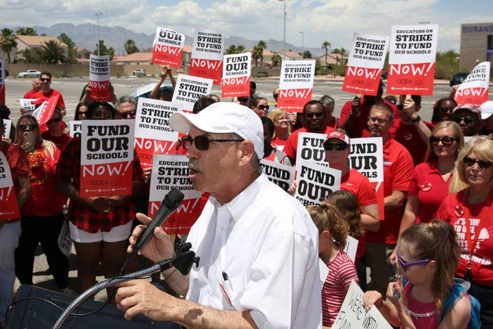 John Vellardita, the Clark County Education Association executive director, speaks as about 50 ...