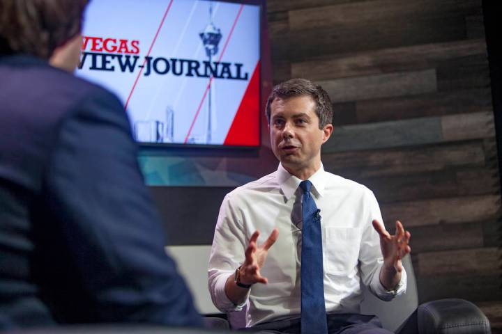 Democratic presidential candidate Pete Buttigieg speaks with the Review-Journal's political rep ...