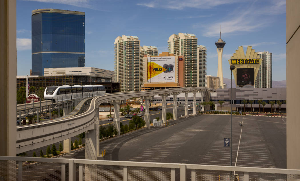 A train arrives at Las Vegas Convention Center Staion from the Westgate Station along the Las V ...