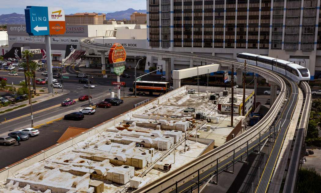 A train departs at the Flamingo/Caesars Palace Station along the Las Vegas Monorail system on S ...