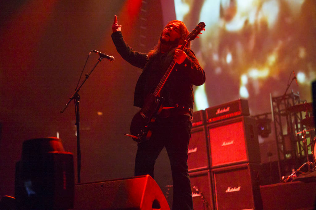 Jus Oborn, of Electric Wizard, performs at the Mandalay Bay Events Center during the Psycho Las ...