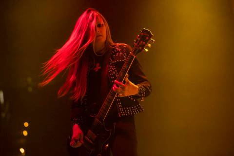 Liz Buckingham, Electric Wizard, performs at the Mandalay Bay Events Center during the Psycho L ...