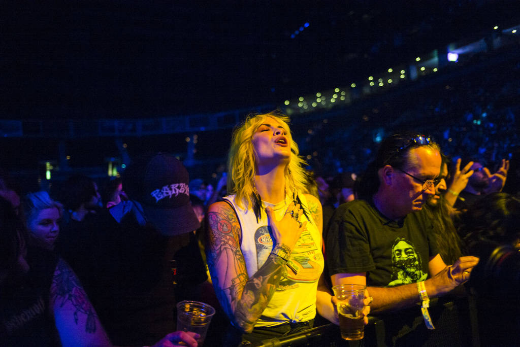 Fans watch as Electric Wizard performs at the Mandalay Bay Events Center during the Psycho Las ...