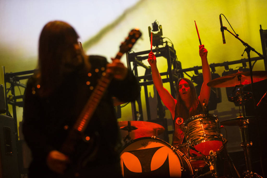 Simon Poole, of Electric Wizard, performs at the Mandalay Bay Events Center during the Psycho L ...