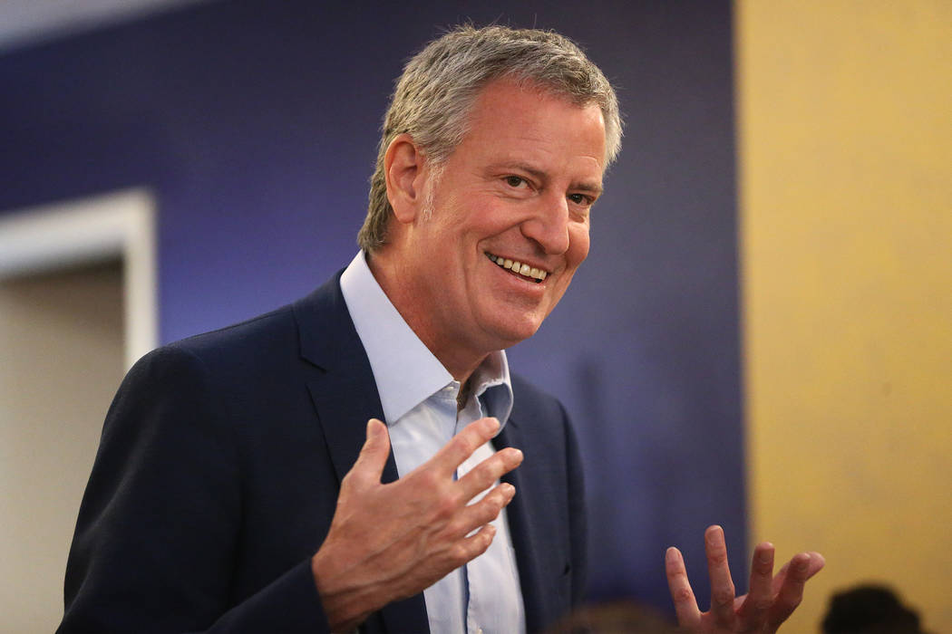 New York Mayor Bill de Blasio, a Democratic presidential candidate, speaks during a campaign st ...