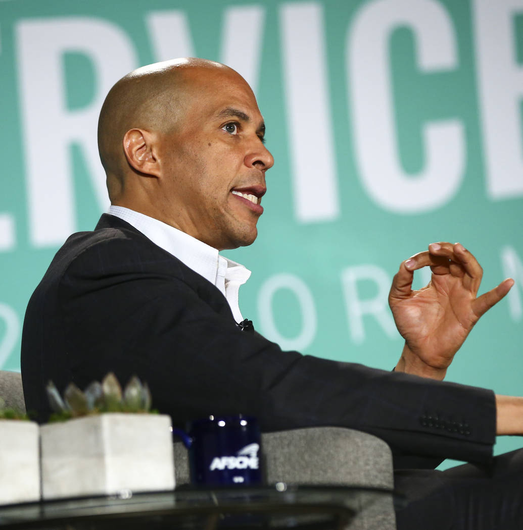 Sen. Cory Booker, D-N.J., speaks during a public forum for Democratic presidential candidates h ...