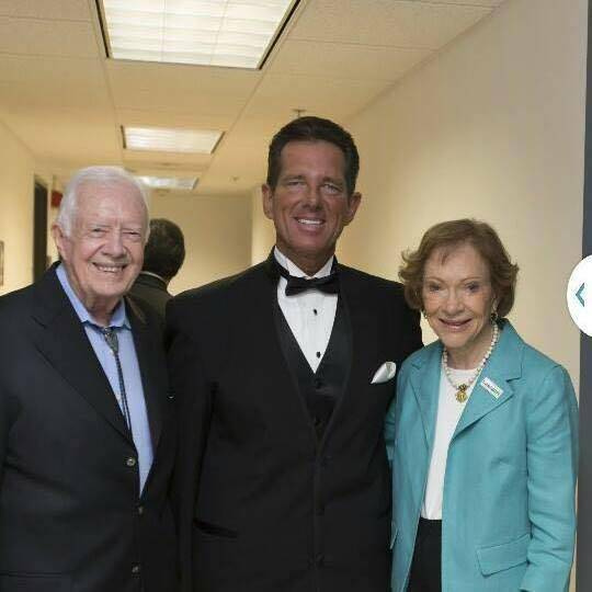 Jimmy Carter, left, David Osborne and Rosalynn Carter at Jimmy Carter's 91st birthday party in ...