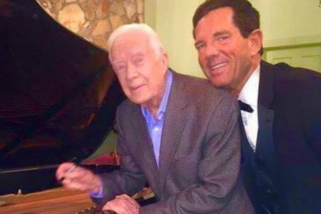 Bellagio's Steinway pianist David Osborne, right, and former President Jimmy Carter in October ...
