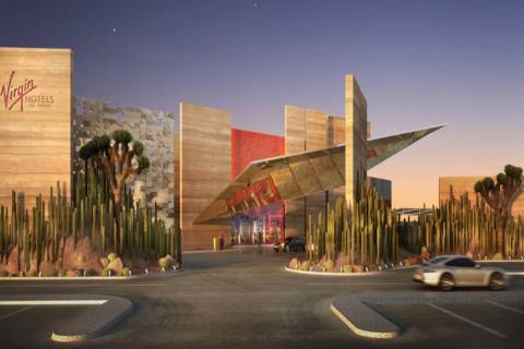 A rendering of the main entrance and porte cochere at Virgin Hotel Las Vegas. (Virgin Hotels an ...