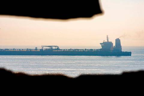 A view of the Grace 1 supertanker stands off the coast of the British territory of Gibraltar, F ...