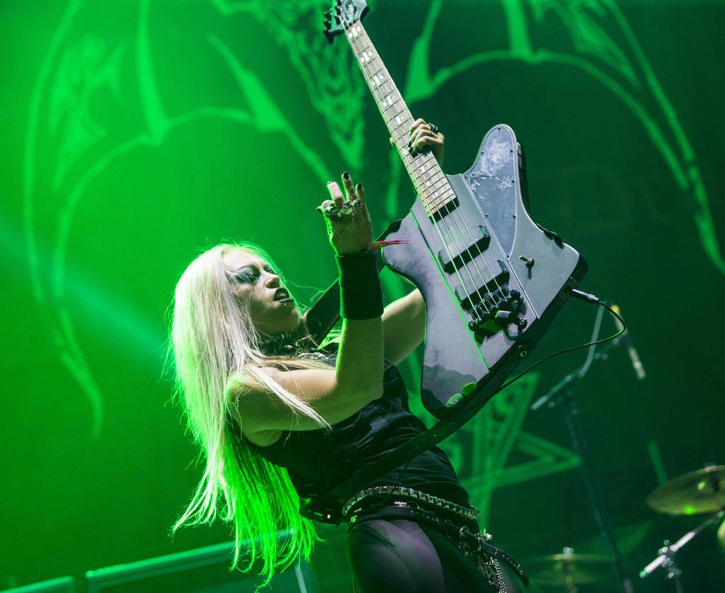 Mia Wallace, of Triumph of Death, performs at the Mandalay Bay Events Center during the Psycho ...