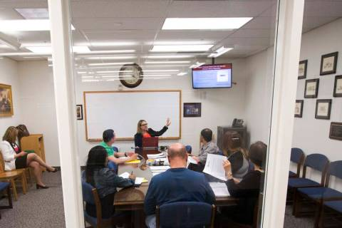 Kendra Jepsen, a law clerk with Equal Justice Works, leads a records sealing class at Clark Cou ...