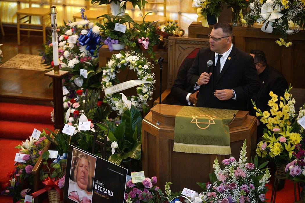 Dean Reckard, son of Margie Reckard, speaks about his mother's life during her funeral at La Pa ...