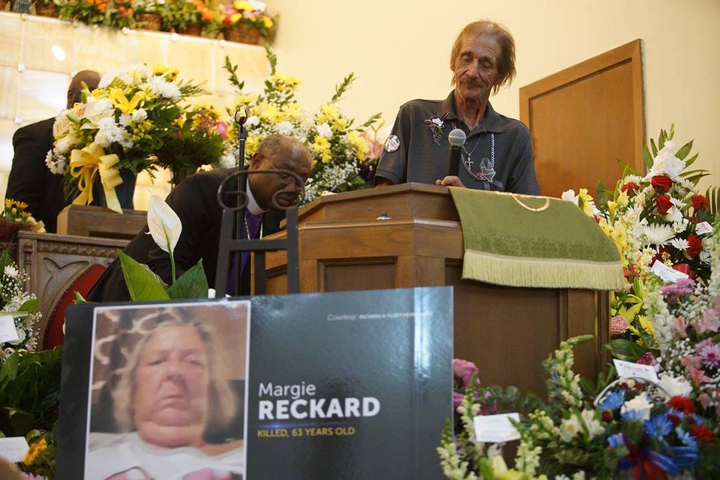 Antonio Bosco, husband of Margie Reckard, speaks about his wife during her funeral at La Paz Fa ...