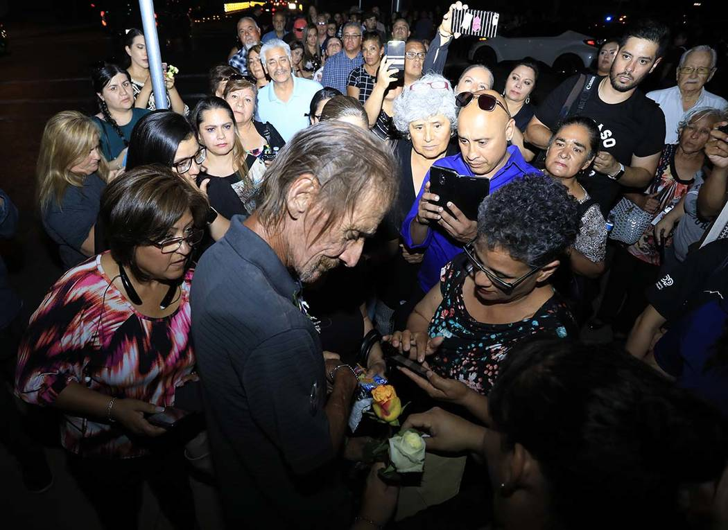 Antonio Bosco, husband of Margie Reckard who lost her life during a shooting, is offered condol ...