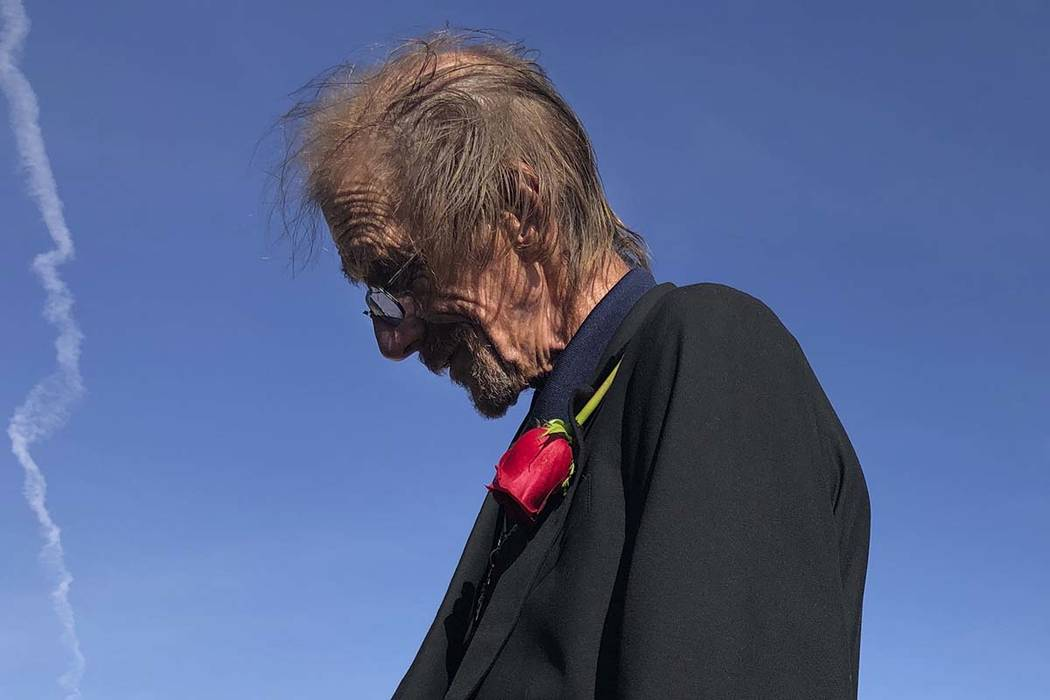 Antonio Basco, left, the long-time companion of Margie Reckard, 63, speak to reporter Saturday ...