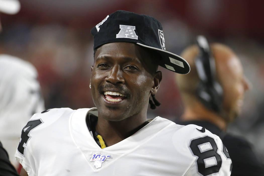 Oakland Raiders wide receiver Antonio Brown (84) during an an NFL preseason football game again ...