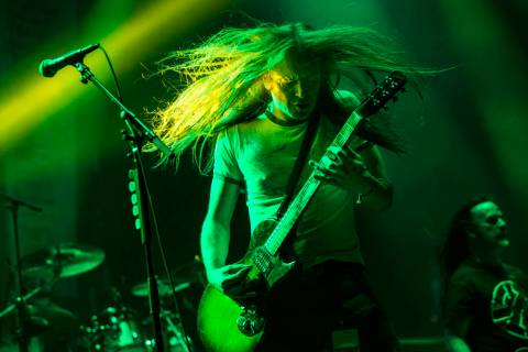 Bill Steer, of Carcass, performs at the Mandalay Bay Events Center during the Psycho Las Vegas ...