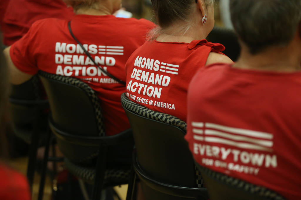 People attend an event by the Nevada chapter of Moms Demand Action for Gun Sense in America at ...
