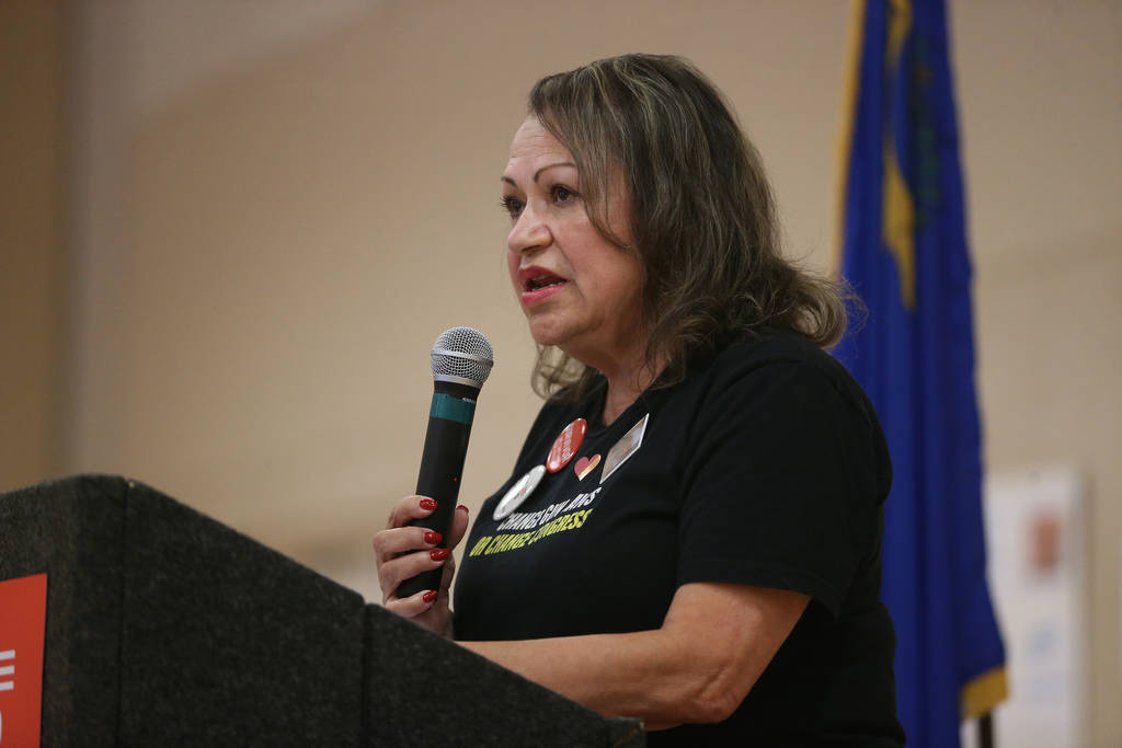 Clark County School District Trustee Linda Cavazos speaks during an event by the Nevada chapter ...