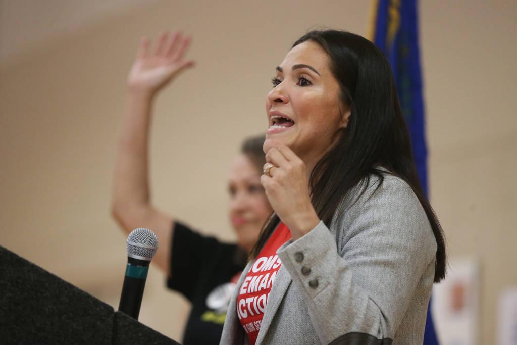 Assemblywoman Sandra Jauregui, right, with Clark County School District Trustee Linda Cavazos, ...