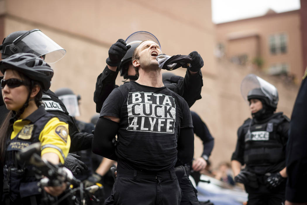 "Police officers detain a protester against right-wing demonstrators following an ""End Dome ..."