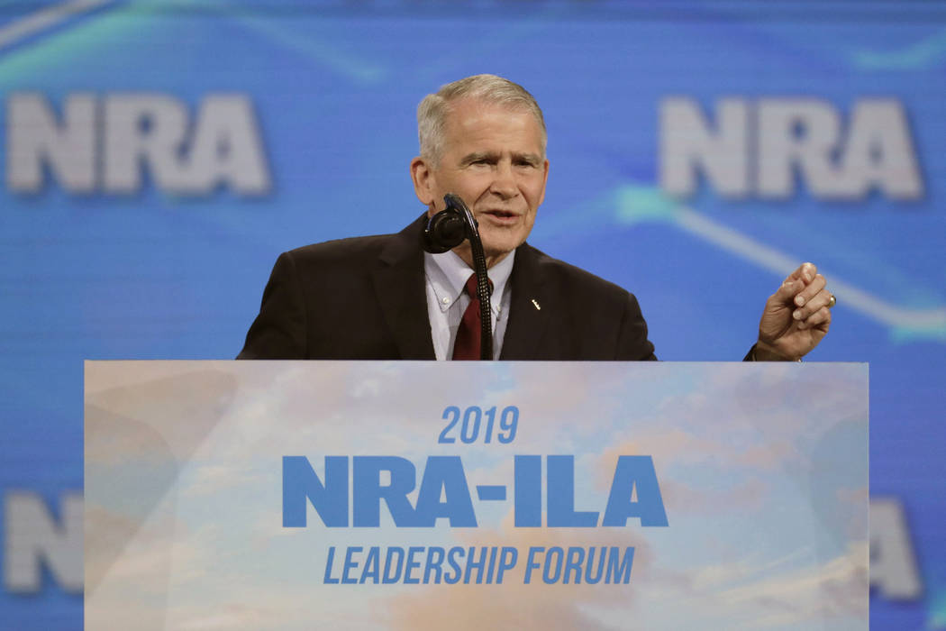FILE - In this April 26, 2019, file photo, National Rifle Association President Col. Oliver Nor ...