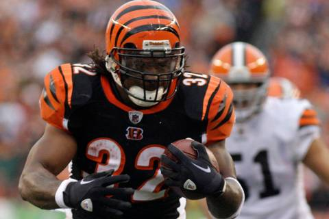 FILE - In this Nov. 27, 2011 file photo Cincinnati Bengals running back Cedric Benson runs for ...