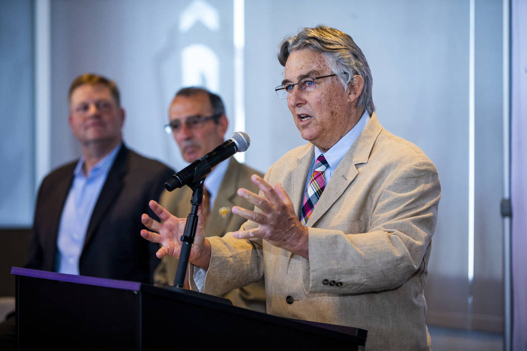Pacific Coast League President Branch Rickey, right, speaks during a press conference announcin ...