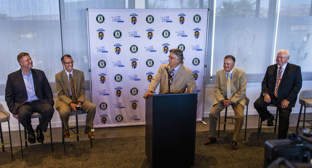 Pacific Coast League President Branch Rickey, center, speaks during a press conference announci ...