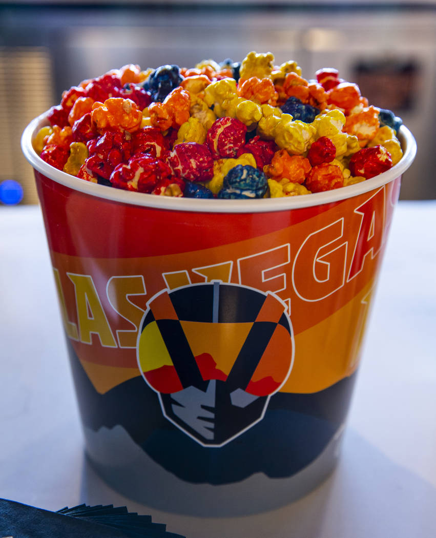 Some colorful popcorn for the tasting during a press conference announcing the Las Vegas Aviato ...