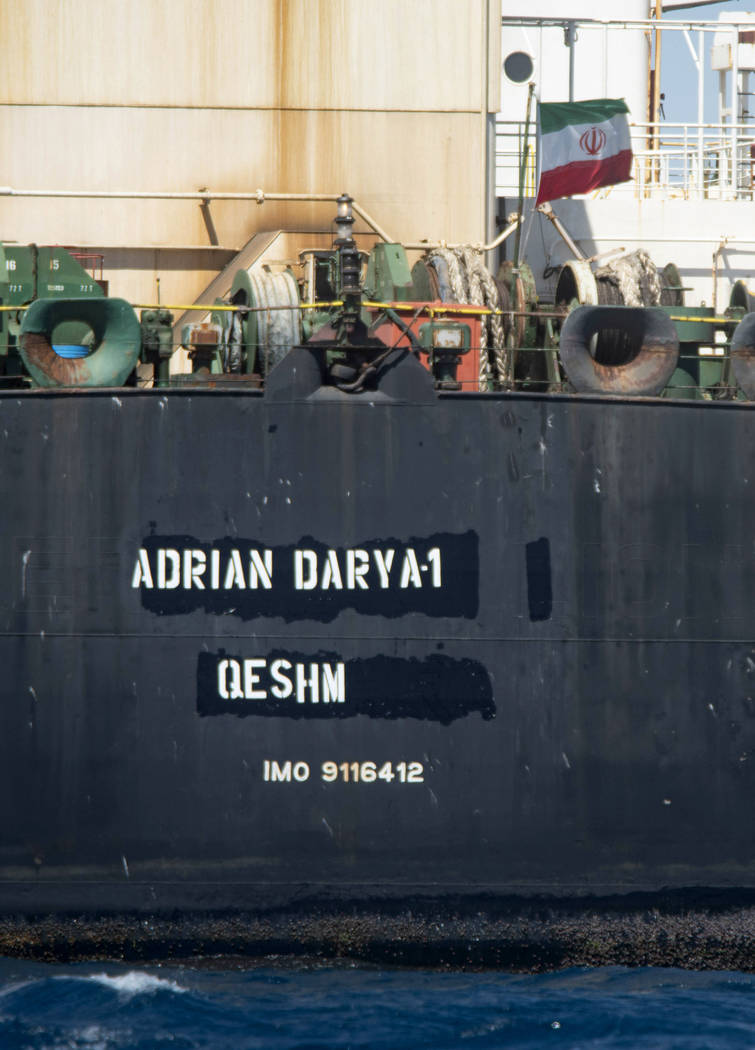 Renamed Adrian Aryra 1 super tanker hosting an Iranian flag, sails in the the waters of the Bri ...