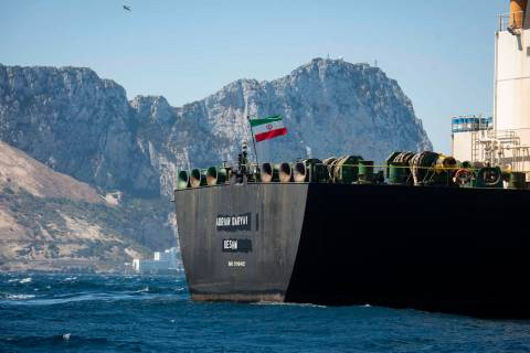 Renamed Adrian Aryra 1 super tanker hosting an Iranian flag sails in the waters in the British ...