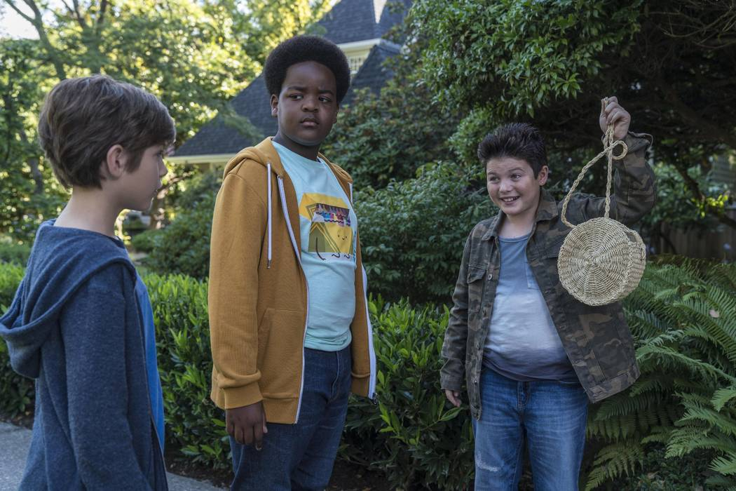 This image released by Universal Pictures shows Jacob Tremblay, from left, as Max, Keith L. Wil ...
